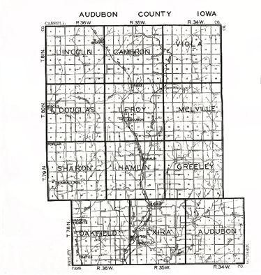 Audubon Iowa Map.Audubon County Iagenweb Audubon County Township Maps
