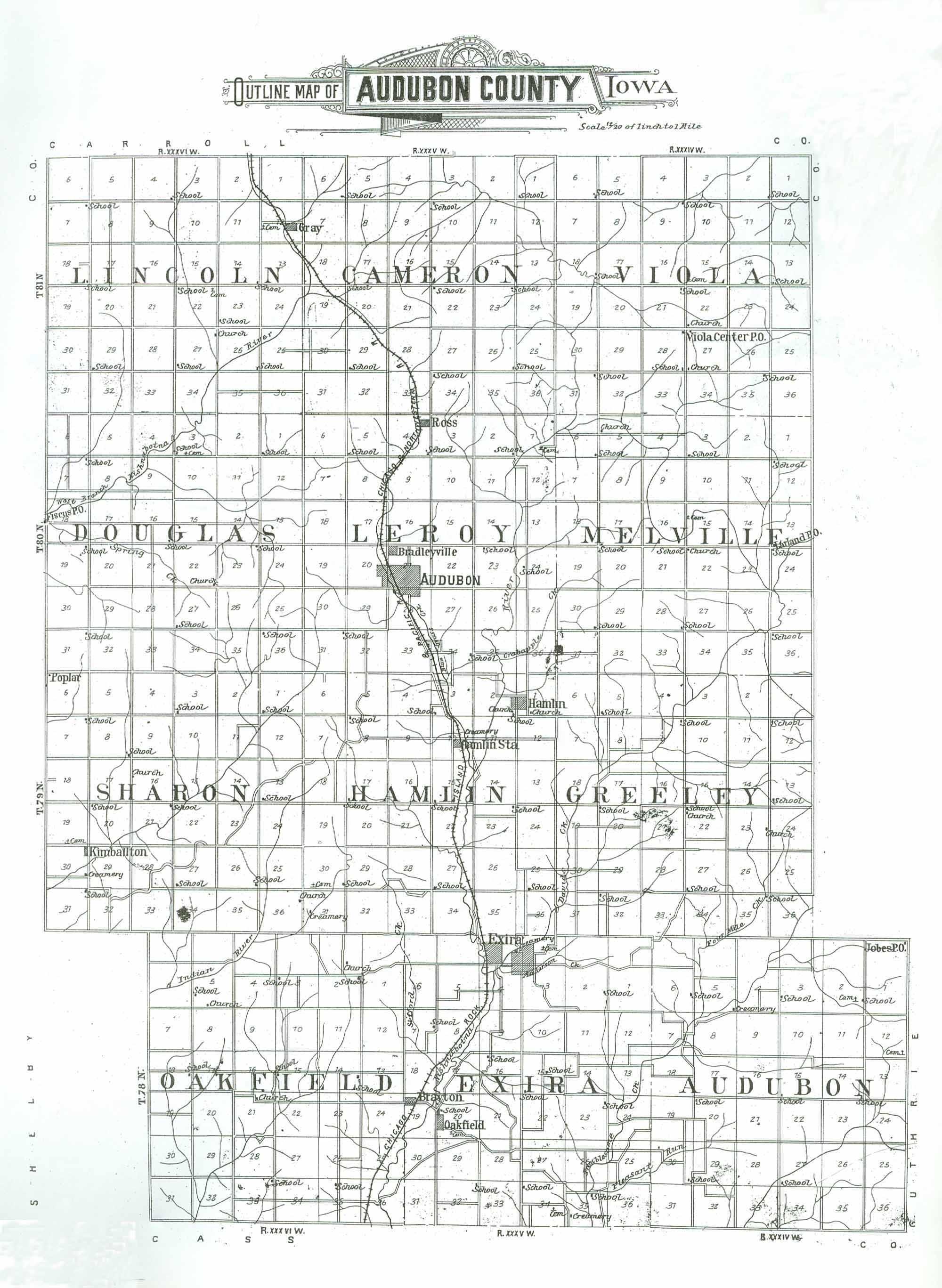 Audubon Iowa Map.Audubon County Iagenweb Maps Audubon County Iowa Ogle 1900