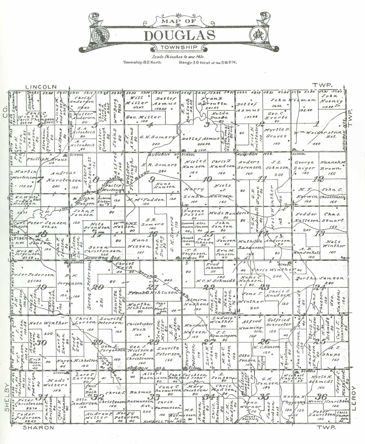 Audubon Iowa Map.Audubon County Iagenweb Iowa Maps 1921 Anderson Atlas Douglas