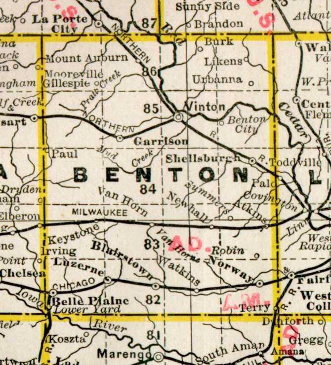 1890 Map of Benton County, Iowa