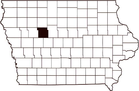 Calhoun County's location within the state of Iowa