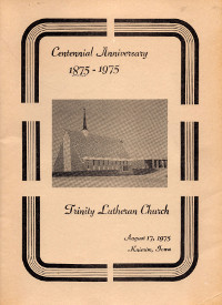 Cover of Centennial Anniversary Booklet for Trinity Lutheran