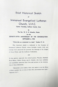 Pg. 2 of 75th Anniversary Booklet for Immanuel Lutheran