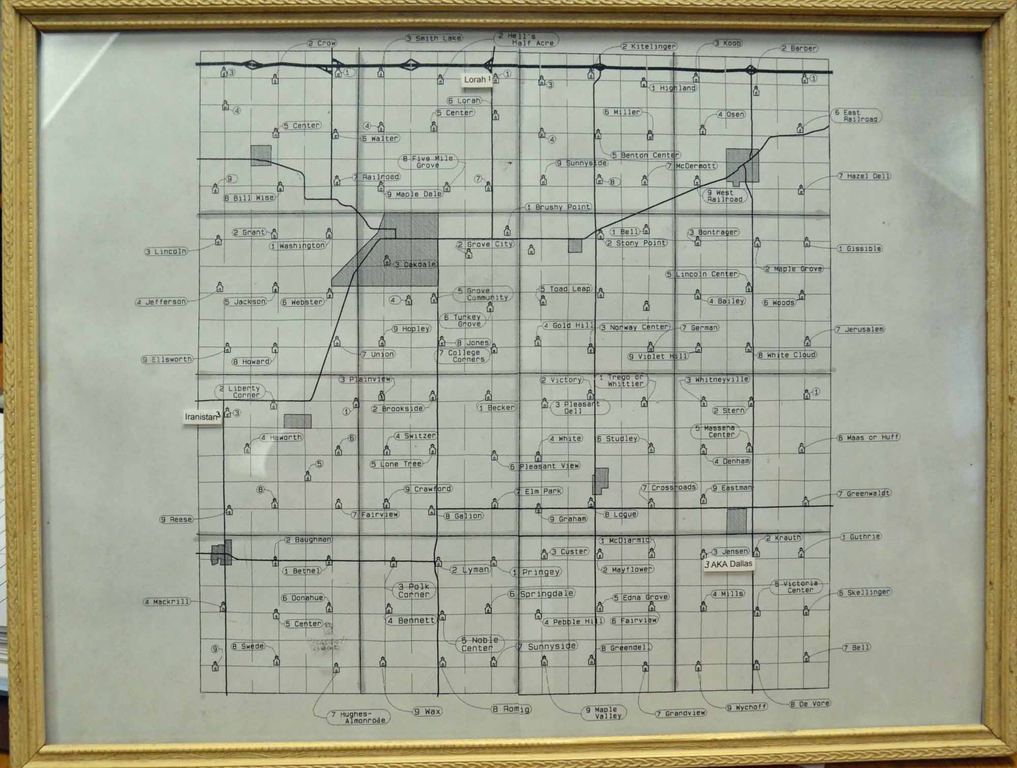 Cass County Iowa Schools   1902 Cass County Schools Map