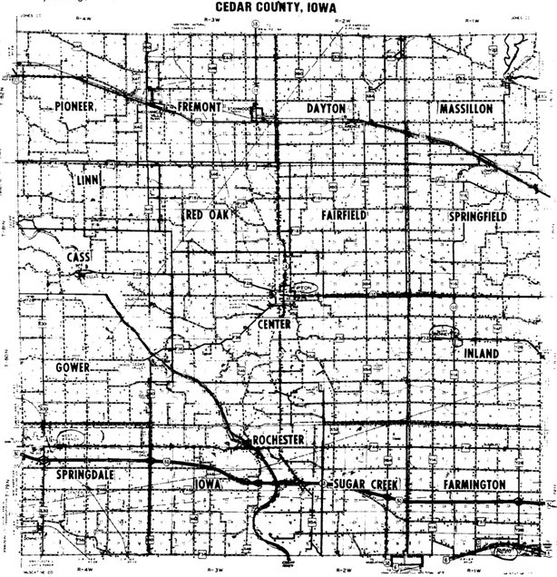 Cedar County Iowa, County Map with Townships