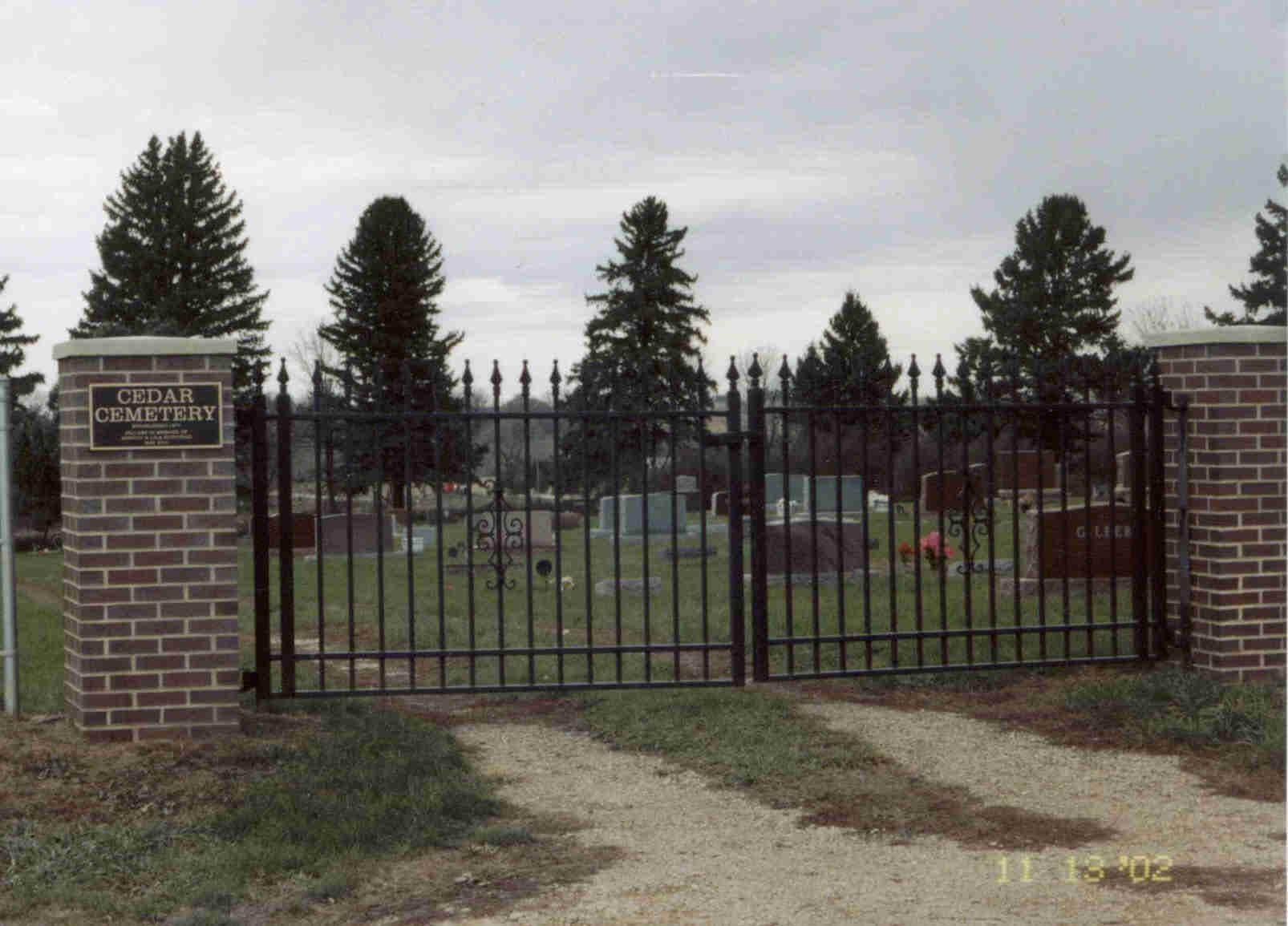 Entrance to Cedar Cemetery
