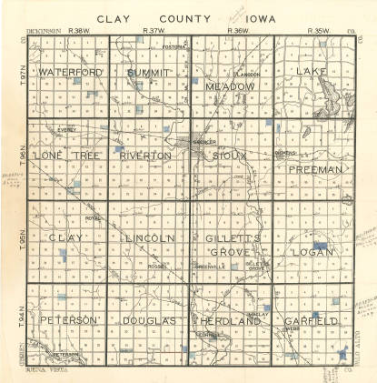 Sioux County Iowa Map.Towns Townships Clay County Iowa