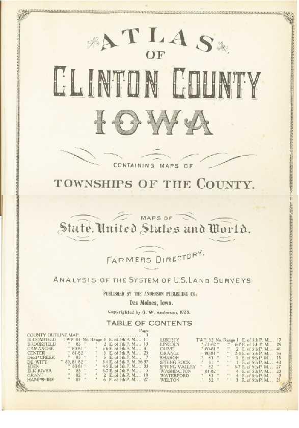 1925 Atlas Of Clinton County Iowa