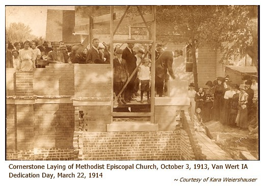 The formal laying of the corner stone of the new Methodist Espicopal church at Van Wert will be observed Friday, October 3rd, promptly at 2 p. m. Some ...