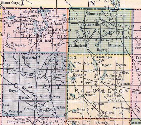 Maps and Places IAGenWeb Dickinson County Iowa