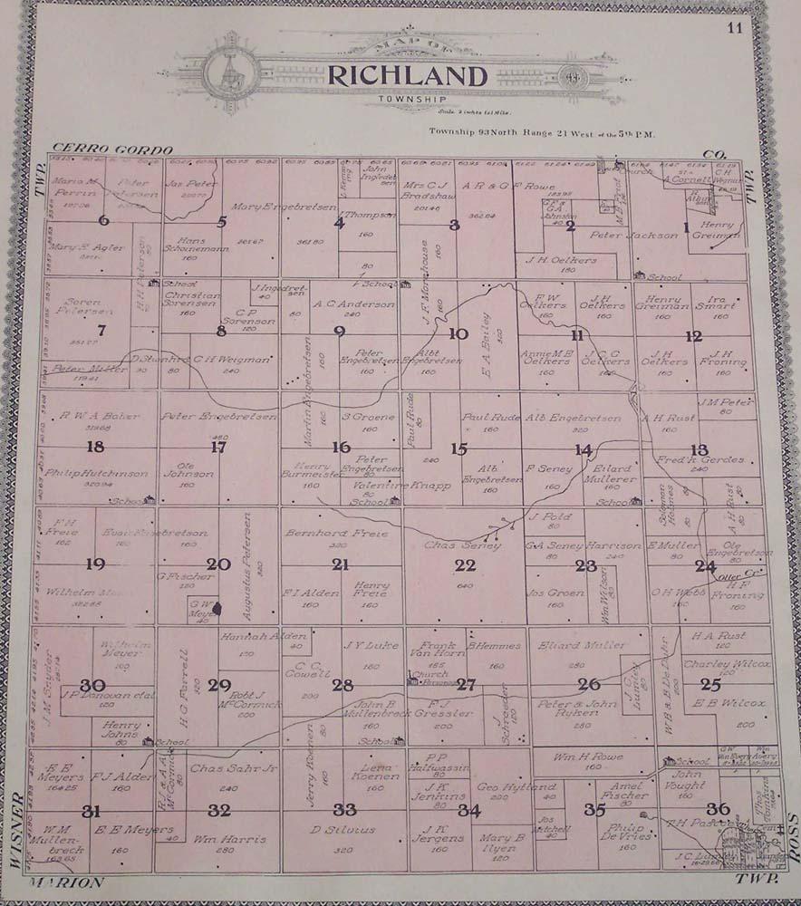 Franklin Co Iowa 1908 Plat Map