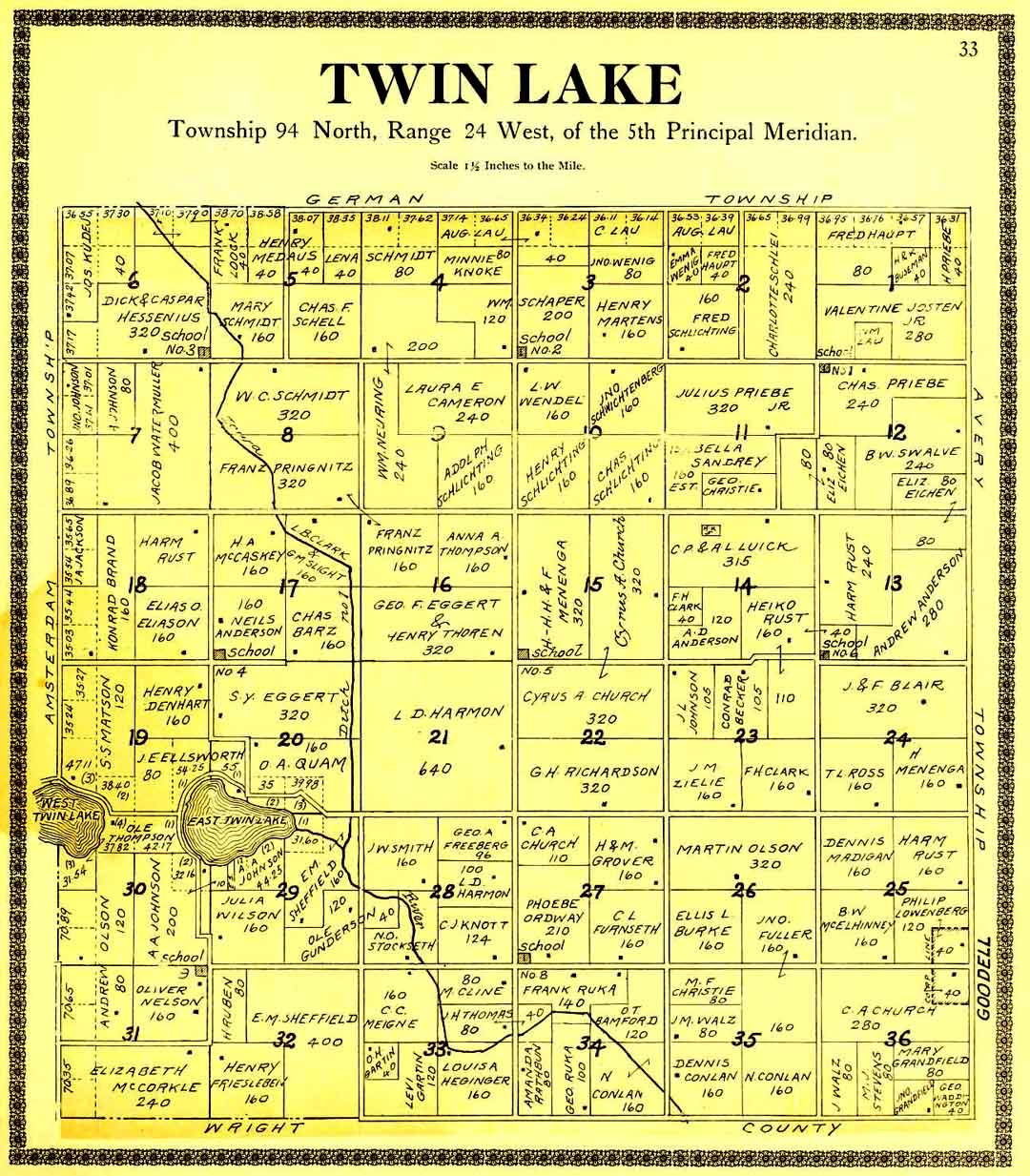 1896 1930 Twin Lake Twp Map