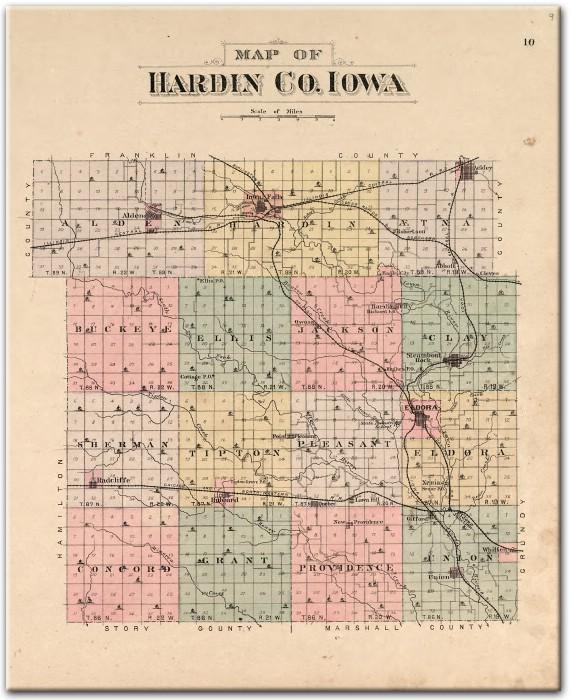 Iowa County Iowa Map.1892 Plat Map Of Hardin County Ia Counties