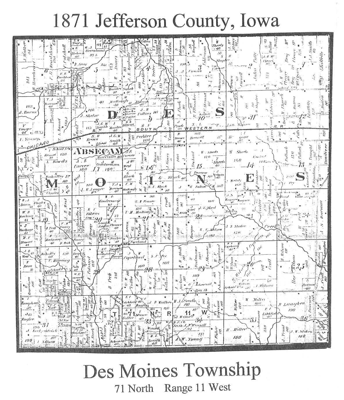 Jefferson County Iowa Map.1871 Map Of Jefferson County Property Owners