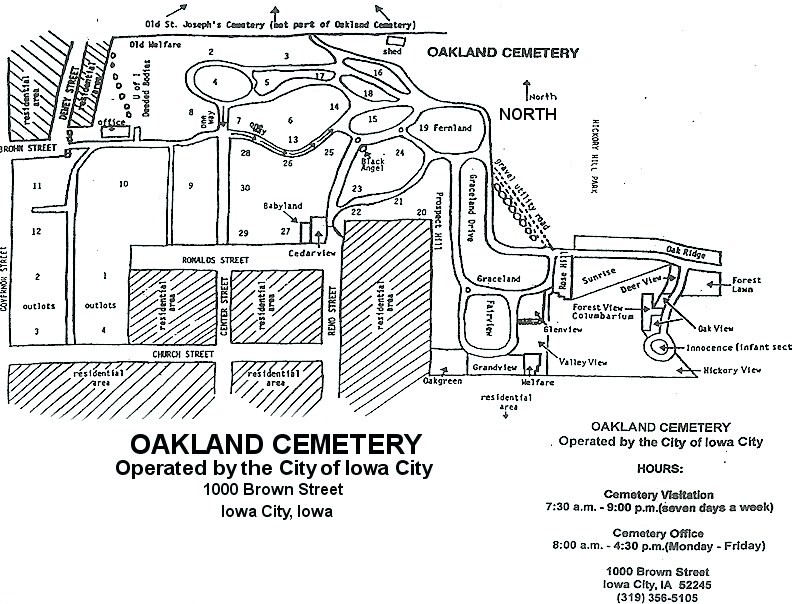 OAKLAND CEMETERY MAP Iowa City