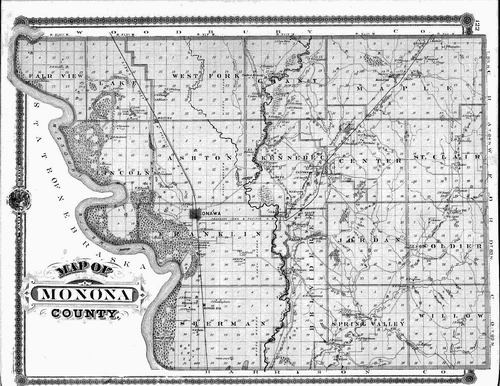 Old Iowa Map.Monona County Iowa Iowa Genweb Project Town Townships