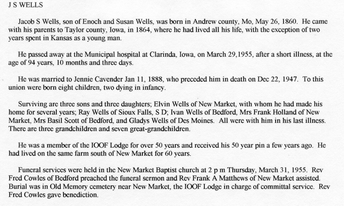 Page County, Iowa: obituary