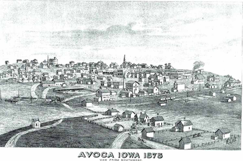 Avoca Iowa Map.Iagenweb Pottawattamie Co Iowa Map 1875 Plat Map Of Avoca