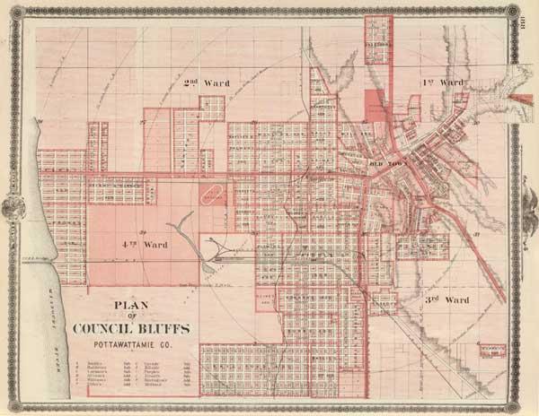 IAGenWeb  Pottawattamie Co Iowa  Map 1875 Council