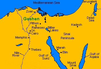 Land Of Goshen Egypt Map
