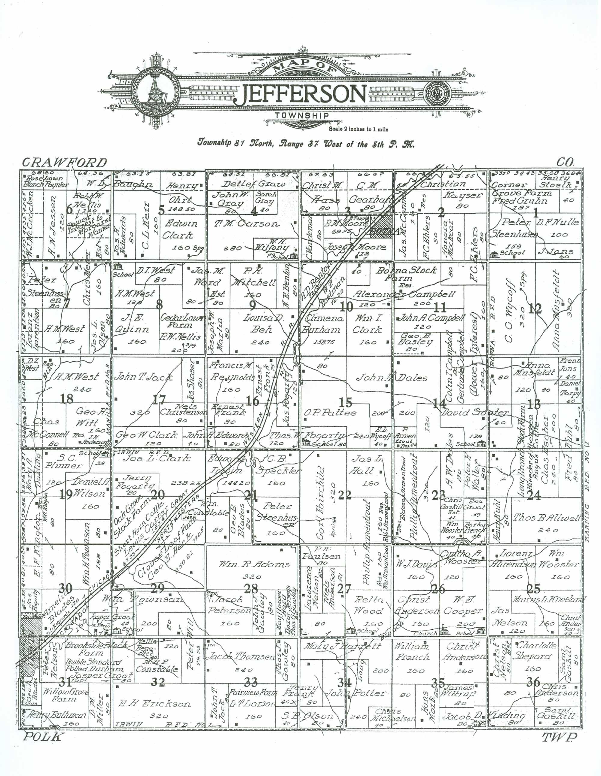 Jefferson County Iowa Map.Shelby County Iagenweb Maps 1911 Shelby Co Atlas Jefferson