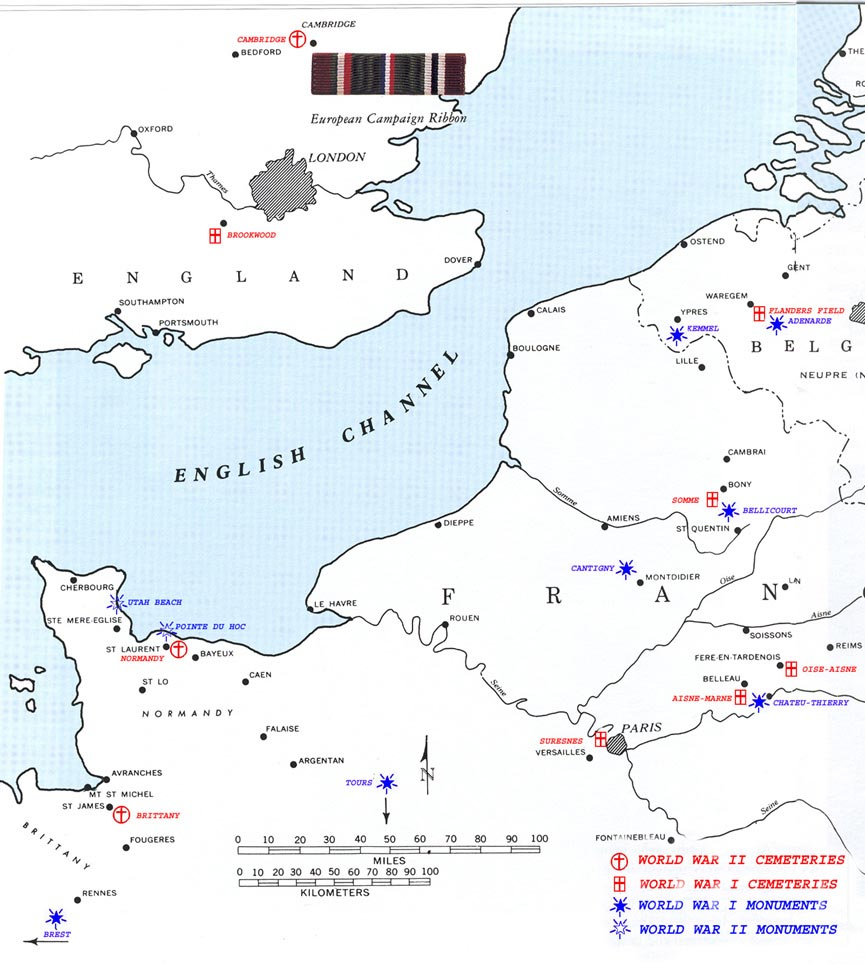 Map Of Western France.Iowa In The Great War Memorial Cemeteries In Western France And